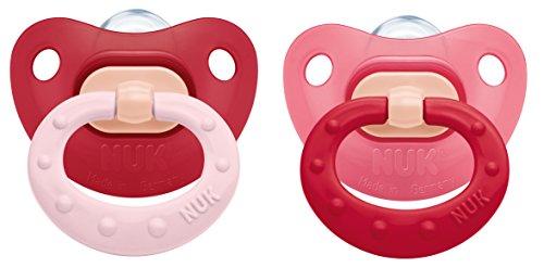 NUK 10176116 Fashion Silikon-Schnuller mit Ring, Größe 2, 6-18 Monate, kiefergerechte Form, BPA frei, 2 Stück, Girl