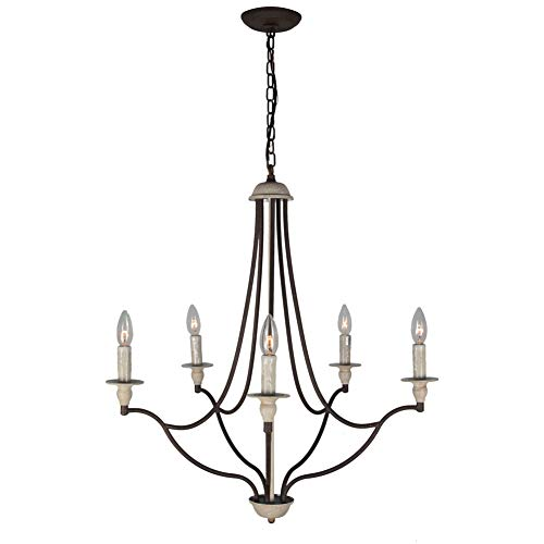 Baiwaiz Rustic Candle Chandelier Lighting, Metal Vintage Dining Room Chandelier Antique French Country Chandelier Pendant Light 5 Lights Edison E12 098
