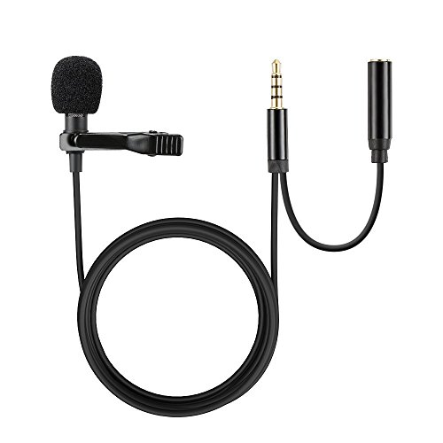 Lavalier Lapel Microphone with Headphone jack 3.5mm Lapel Clip-on Omnidirectional Condenser Microphone Compatible with iPhone, Android & Windows Smartphones, Video Recording, Interview, Youtube