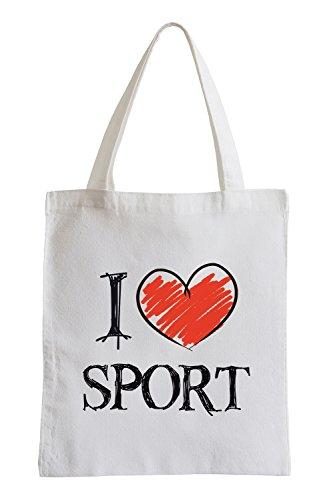 Io amo gli sport Fun sacchetto di iuta