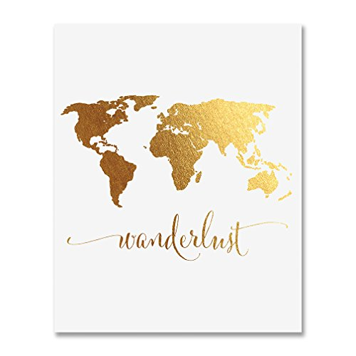 Wanderlust World Map Gold Foil Art Print Travel World Traveler Poster Modern Art Contemporary Metallic Wall Decor 5 inches x 7 inches A4
