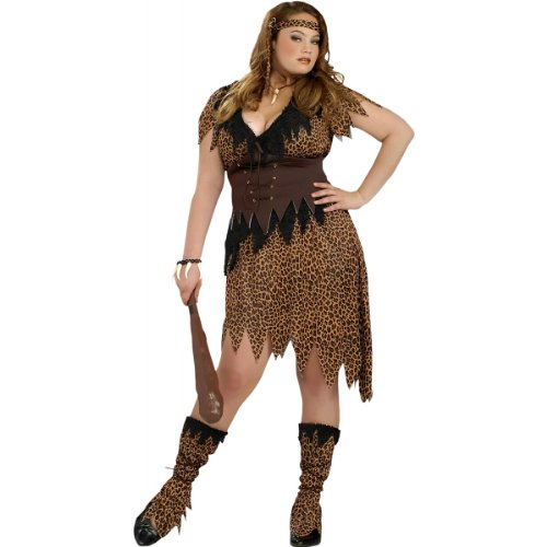 Cave Woman Halloween Costume (Cave Beauty Adult Costume - Plus Size)
