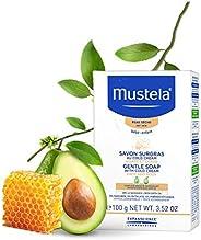Mustela, Jabón Natural en Barra para cara y cuerpo de Bebés y niños, Limpia suavemente, 99% ingredientes de or