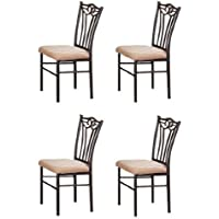 Set of 4 Shannon Series Dining Chairs in Charcoal Iron Finish European Style
