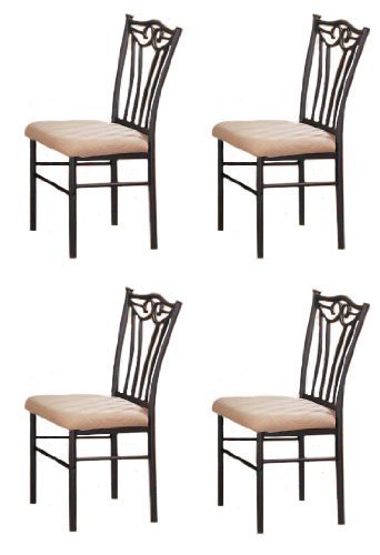 Set of 4 Shannon Series Dining Chairs in Charcoal Iron Finish European Style by Advanced Furniture