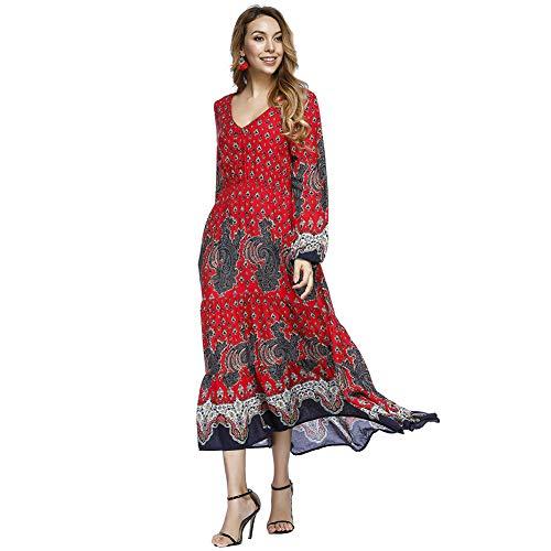Lover Falda Floral Print y Elegante Verano Rojo Cuello Beauty Redondo Bohemia Manga Corta Top Ajustado Costura Largo Casual Vestido Mujer OqrOR4Iw
