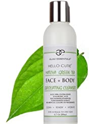 Matcha Green Tea Facial and Body Exfoliating Cleanser for Women and Men. Super Hydrating Face Wash with Aloe Vera, Hyaluronic Acid,and Niacinamide(B3). Great for Sensitive and Oily Skin