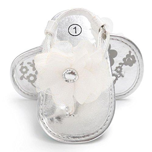 Bebé Prewalker Zapatos Auxma Sandalias de flores para bebés,Zapatos de las muchachas del niño para 3-6 6-12 12-18 meses Plata