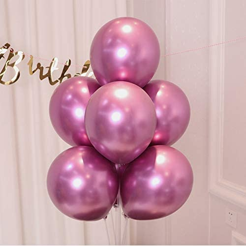 Metallic Chrome Hot Pink Balloons 100 Pcs 12 Inch Helium Shiny Thicken Latex Balloons Party Decoration