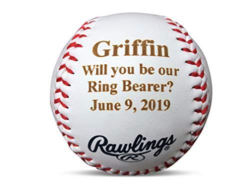 Personalized Ring Bearer Invitation Gift Baseball, Will You Be Our Ring Bearer Proposal Wedding Keepsake, Ring Security, Custom Engraved Baseball -
