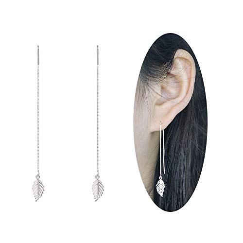 Chain Threader - MSECVOI 925 Sterling Silver Leaves Dangle Earrings Chain for Women Elegant Threader Earrings