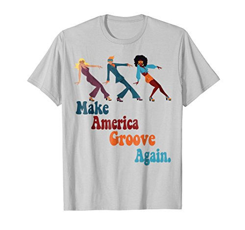 Mens MAGA Make America Groove Again 1970s Disco Dancers T Shirt Large Silver (Shirt Disco 1970's)