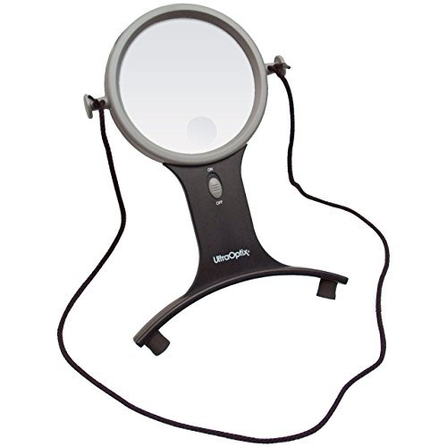 UltraOptix Lighted Hands Free Magnifier 2 5x with 6x Bifocal by UltraOptix