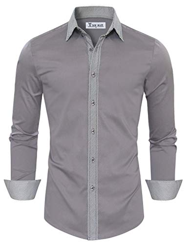 c1de680ebe7 TAM WARE Mens Casual Slim Fit Contrast Lining Button Down Dress Shirts  TWCS22-LILACGRAY-US M