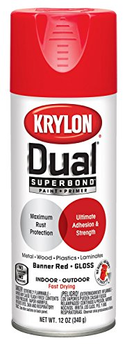 (Krylon K08803007'Dual' Superbond Paint and Primer, Gloss Banner Red, 12 Ounce)