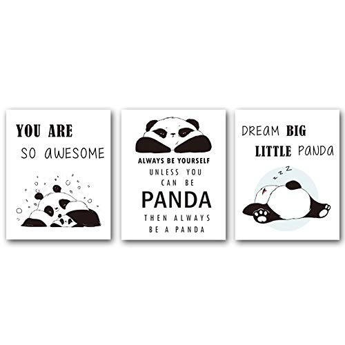 Panda Canvas Reproduction - Unframed Adorable Panda Art Print&Motivational Words Wall Art, Set of 3(8''x10'') Canvas Dream Big Little Panda Print for Nursery and Kids Room Decor