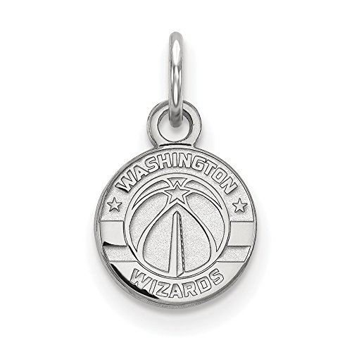 NBA Washington Wizards Xsmall Logo Pendant in Rhodium Plated Sterling Silver by LogoArt