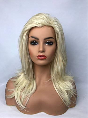 Blonde Long Layered Natural Straight Shoulder Length Synthetic Hair Wigs with bang for Womens Ladies Wig
