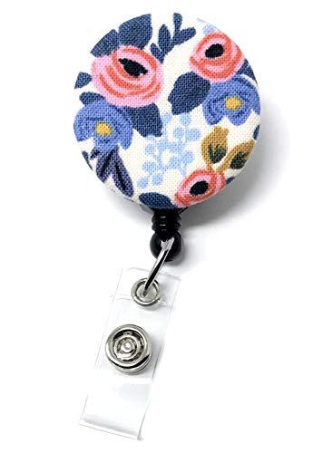 (Carolina Street Retractable Badge Reel, Alligator Clip, 32in Nylon Cord, Medical MD RN Nurse Badge ID, Badge Holder, ID Holder, Office Employee Name Badge (Periwinkle Rosa Floral))