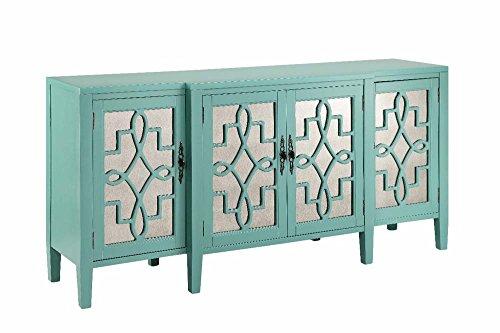 Stein World Furniture 4 Door Mirrored Credenza, Robin's Egg Blue
