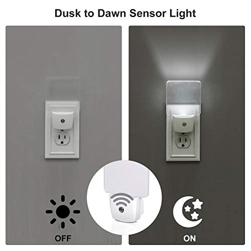 DEWENWILS Plug-in LED Night Light with Light Sensor, Automatic On Off, Flat Nightlight for Bathroom, Hallway, Bedroom, Living Room, Daylight, UL Listed (4)