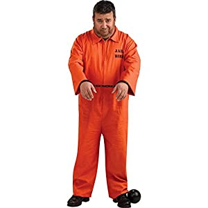 Amazon.com: Plus Size Orange Prisoner Jumpsuit Costume, 46 to 52 ...