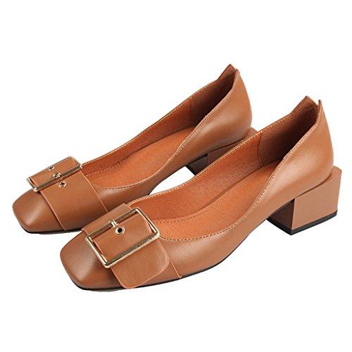 Chers Femmes Temps Bloc Boucle Talon Décoré Pompes Chaussures Marron