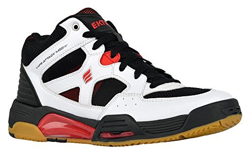 Ektelon Men's NFS Attack White/Black/Red Synthethic Mid Racquetball Shoes 11 D(M) US