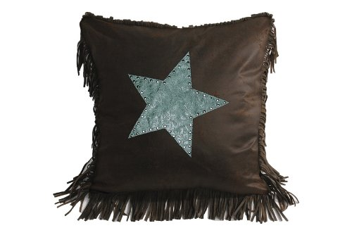 Blue Star Synthetic (HiEnd Accents Cheyenne Star Western Accent Pillow, Turquoise)