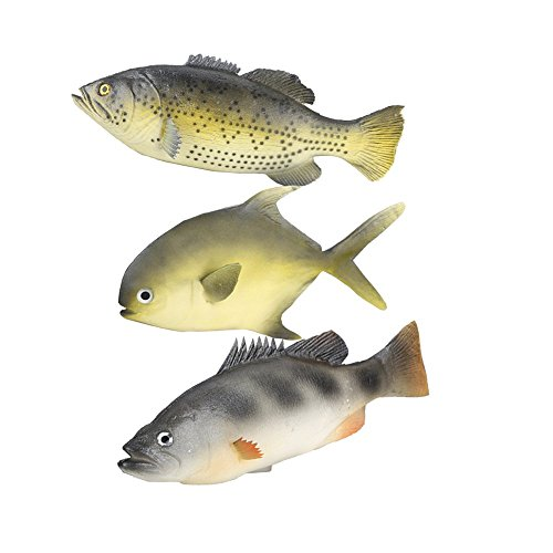 ZUINIUBI 3pcs Simulated Animal Fish Set Realistic Fish Model Playset Lifelike Fake Fish Market Display Kids Toy Kitchen Decoration Photography props (3pcs Simulated Animal Fish Set B) -