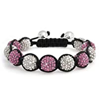 Bling Jewelry Shamballa Inspired Bracelet Fuchsia Crystal Beads 12mm Alloy