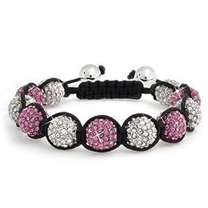 Bling Jewelry Shamballa Inspired Bracelet Fuchsia Crystal Beads 12mm Alloy