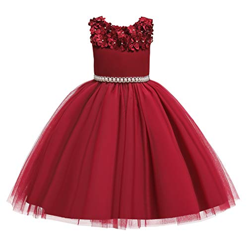 Glamulice Vintage Flower Girl Dress 3D Floral Embroidery Pearl Belt Sash Tulle Swing Party Dresses Age 2-10Y (2-3 Years, Wine Red)