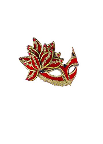 VEN MASK RED W GOLD & GEM (Birds And The Bees Halloween Costume)