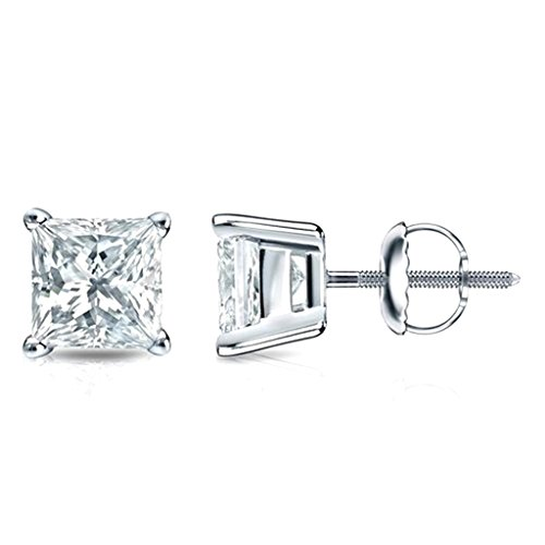 Princess Cut Diamond Stud Earrings Screw Back 0.21cttw Diamonds White Gold Tone Silver 4 Prong ()
