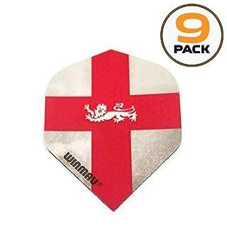 Winmau Mega 9 Pack Lion St George Cross British England United Kingdom 75 Micron Strong Standard Dart Flights