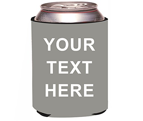 Rikki Knight Grey Customize ADD YOUR OWN TEXT Design Drinks Cooler Neoprene Beverage Insulator (Wedding Beer Koozies)