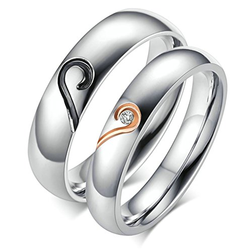 [Aooaz Free Engraving Ring 316L Stainless Steel Ring Puzzle Heart Couple Wedding Band Novelty Ring Size] (Paper Bag Princess Couples Costume)