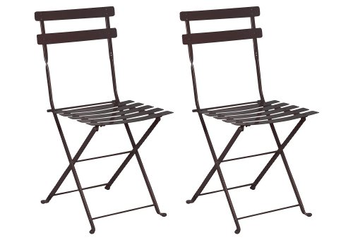 Mobel Designhaus French Café Bistro Folding Side Chair, Jet Black Frame, Steel Metal Slats (Pack of 2) (French Outdoor Chairs)