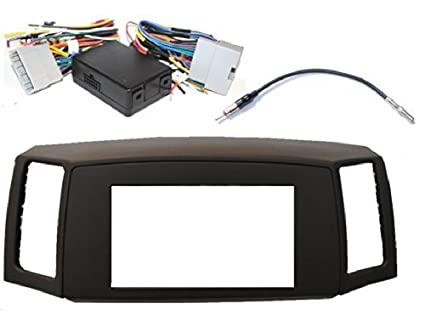 Double Din Navigation Radio Bezel Dash Install Kit with Premium Wiring on
