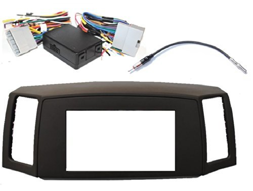 Double Din Navigation Radio Bezel Dash Install Kit with Premium Wiring Harness RETAINS Steering Wheel Controls and Antenna Adapter - KHAKI Fitted For Jeep Grand Cherokee 2005-2007