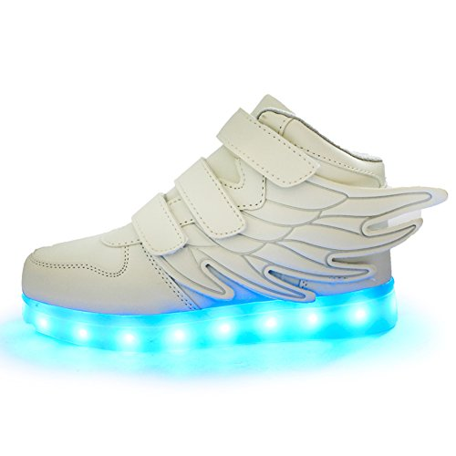 ANEMEL Wings Children's 7 Colors LED Shoes Flashing Rechargeable Sneakers Dance Shoes For Kids Toddler-White/US Toddler 9M/EUR 26 -