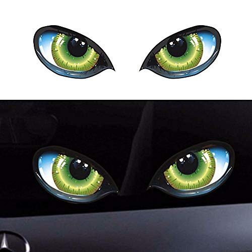 3D Stereo Reflective Cat Eyes Car Sticker Car Auto Side Fender Eye Stickers Adhesive Creative Rearview Mirror Decal, 6pcs