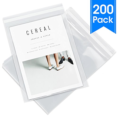 """11"""" X 14"""" (200 Pack) Fits 11"""" X 14"""" Prints - Clear Resealable Cellophane Cello Bags with Self Seal Adhesive (Retail/Artwork and Apparel) - Pack It Chic"""