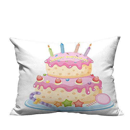 (YouXianHome Pillowcase with Zipper for Kids Pastel Colored Birthday Party Cake with Candles and Candies Light Pink Ultra Soft & Hypoallergenic (Double-Sided Printing) 12x16 inch)