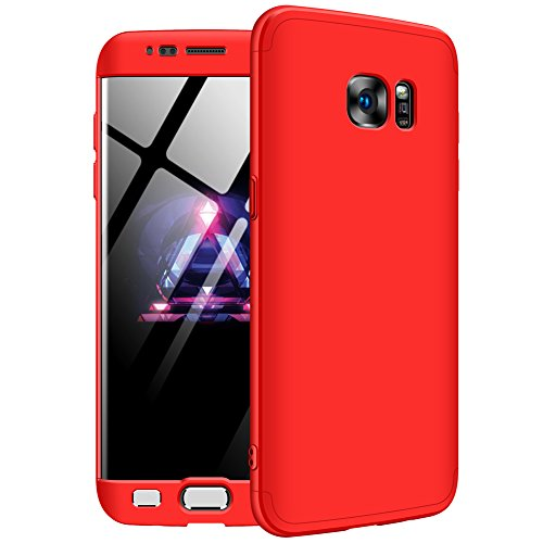 Samsung Galaxy S7 Edge Case,GKK Double Dip Ultra Slim Knight Series Case For Samsung S7 Edge Cover Hybrid PC [HARD] Full Protection Matte Phone Case (Red)