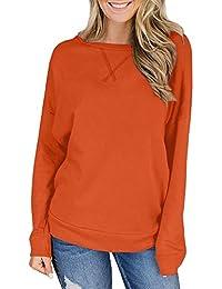 Women Solid Color Casual Pullover Tops Sweatshirt