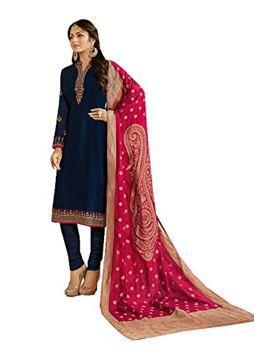 (Delisa Indian/Pakistani Fashion Salwar Kameez for Women 02 (Navy Blue, 2X PLUS-52))