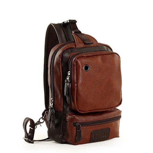 Hombro El Riñonera Crossbag De Medium Bodybag Bandolera Yfbear Para Deporte Marrón Marrón Hombre Pecho Ocio Bolsa xwPIz0Iq7