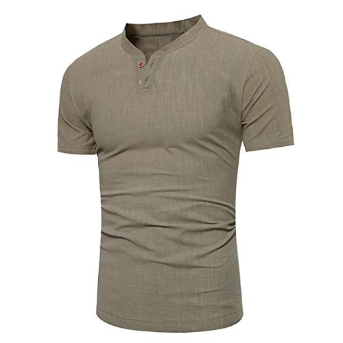 YOcheerful Men Polo Short Sleeve Shirt Top Blouse Solid Knit Workwear Cafe bar (Army ()